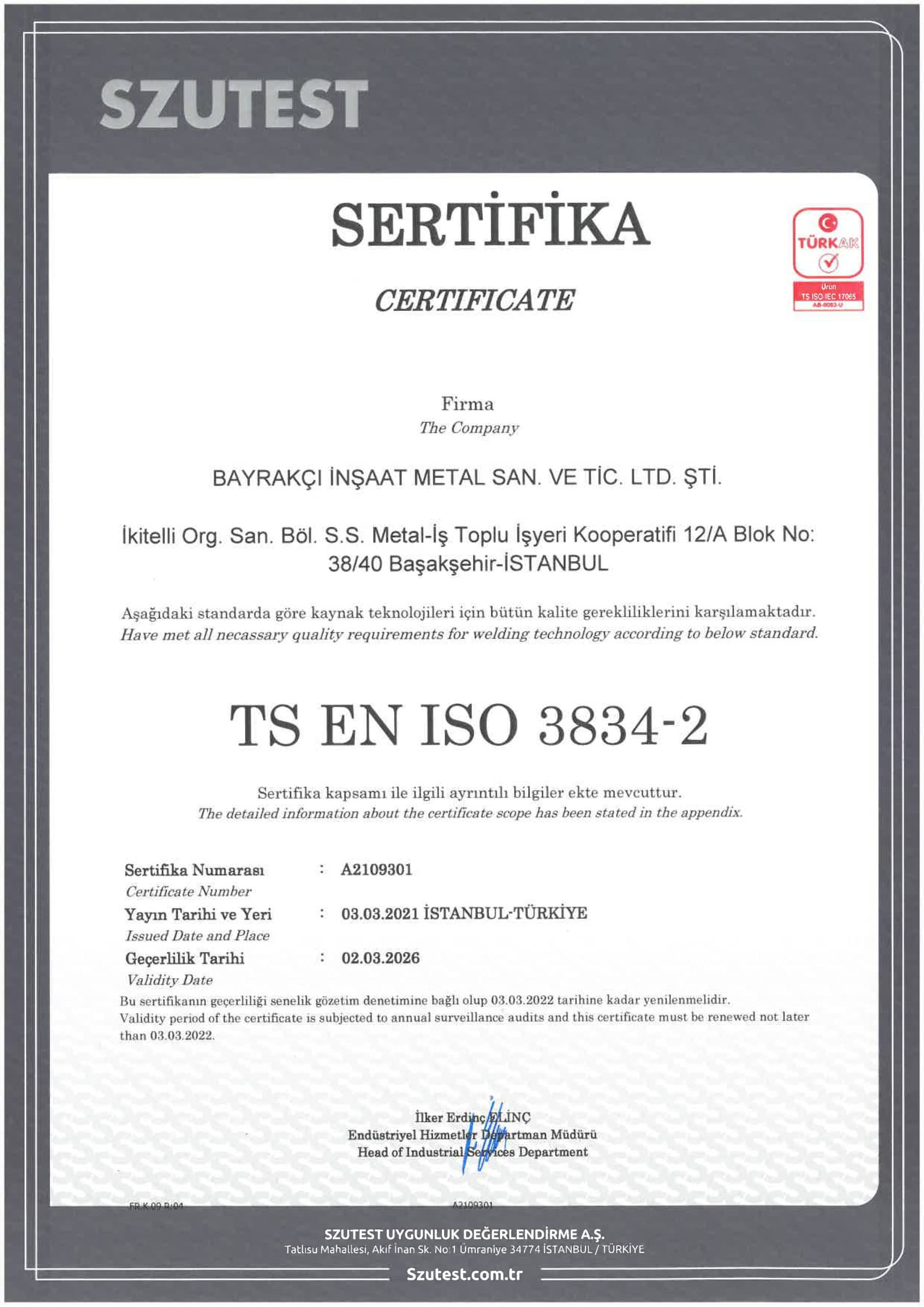A2109301 Bayrakçı Metal EN ISO 3834-2