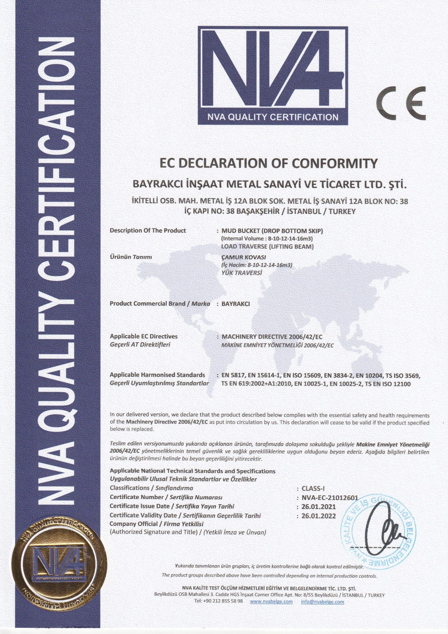 NVA-EC-21012601 BAYRAKCI METAL CE UYGUNLUK BELGESİ